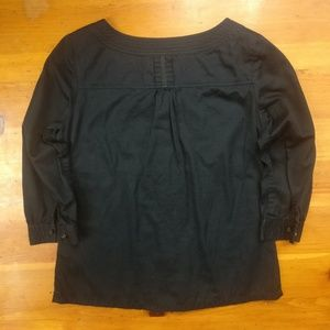 Old Navy Tops - Old Navy 3/4 Black, Ribbon Detail Cotton Top